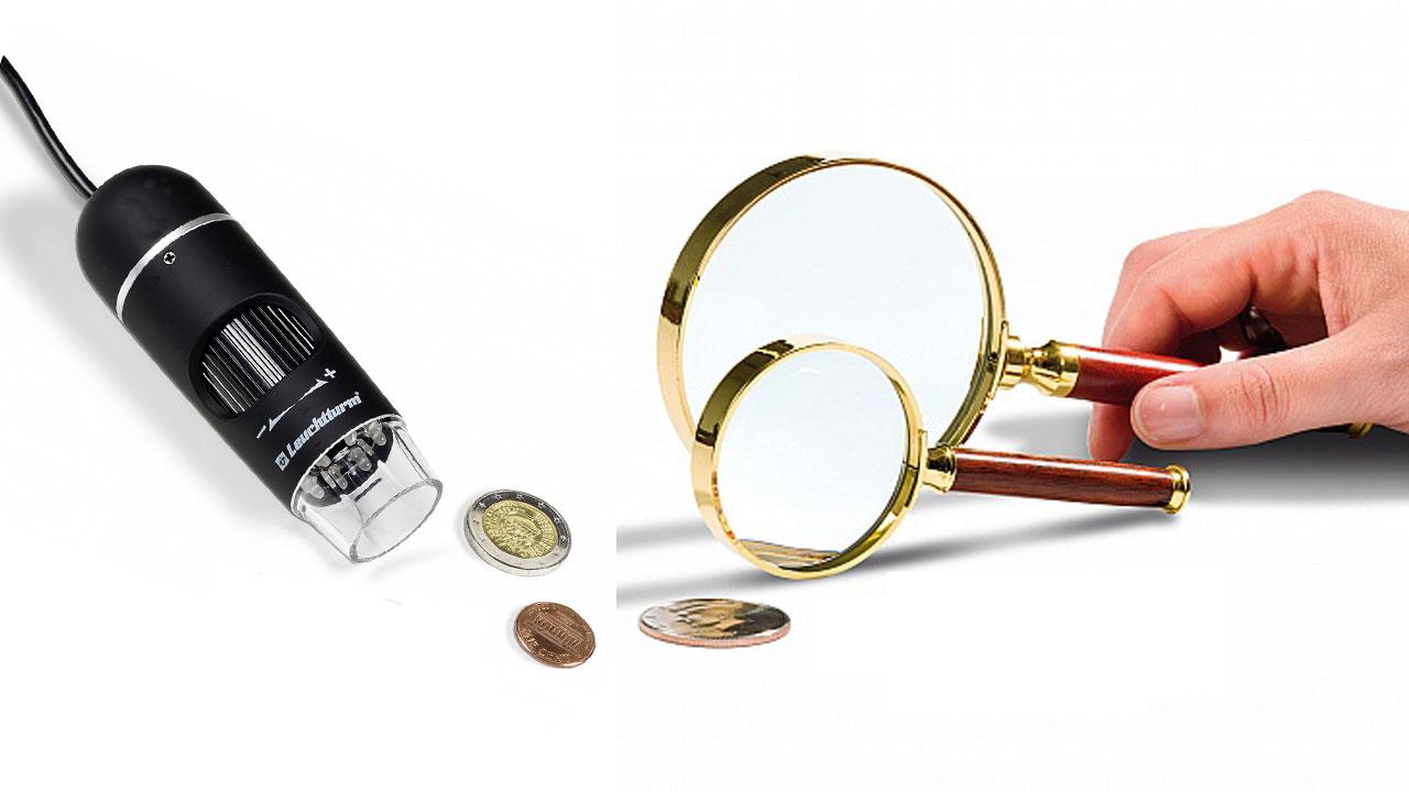 Des instruments d'optique, loup ou microscope, peuvent aider à identifer les fausses monnaies