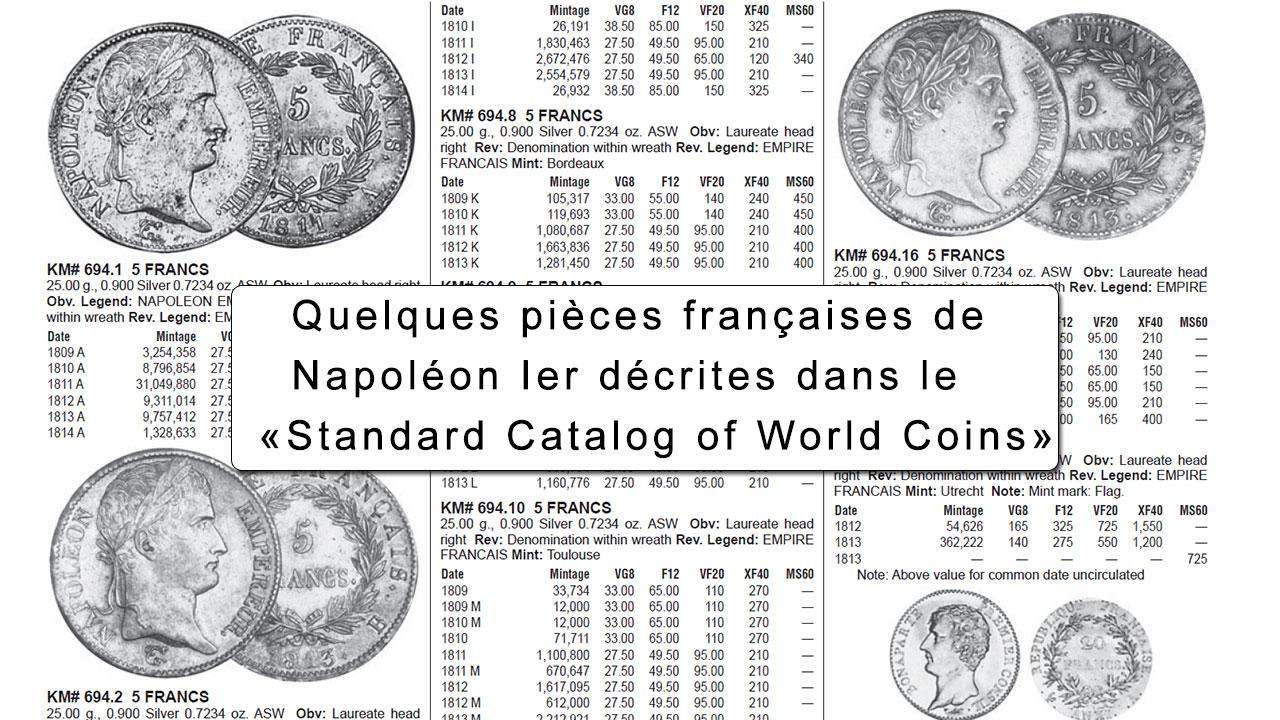Exemple : quelques pièces de monnaie de Napoléon Ier dans le Standard Catalog of World coins