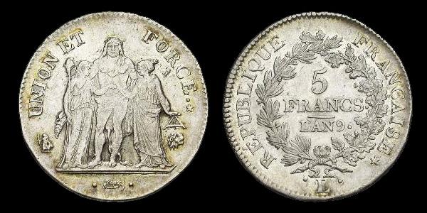 5 francs argent Union et Force, l'An 9