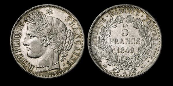 5 francs argent IIème République type Cérès