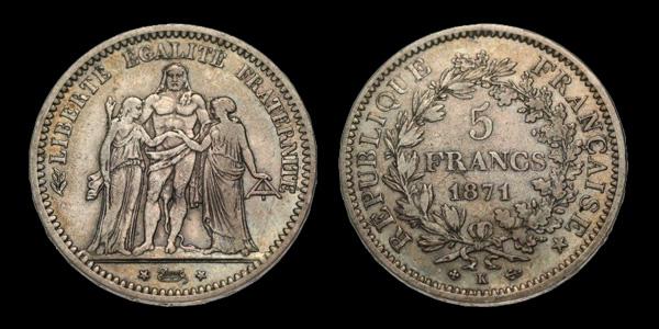 5 francs argent IIIème République Hercule
