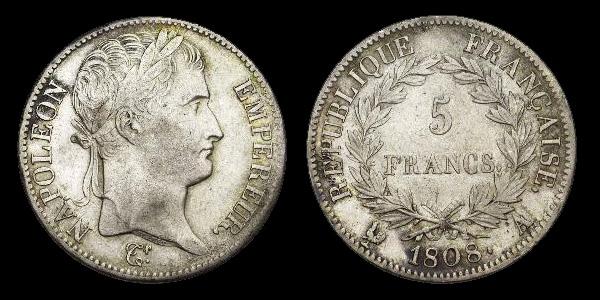 5 francs argent Napoléon Empereur. Calendrier grégorien