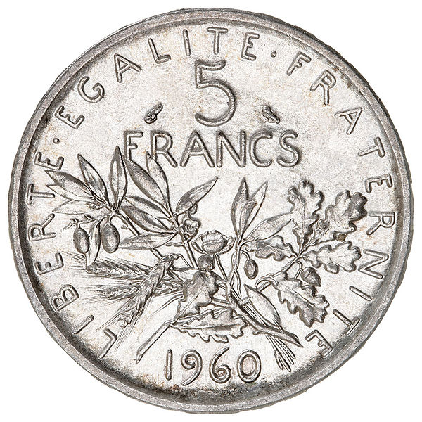 Photo 5 francs Semeuse argent revers