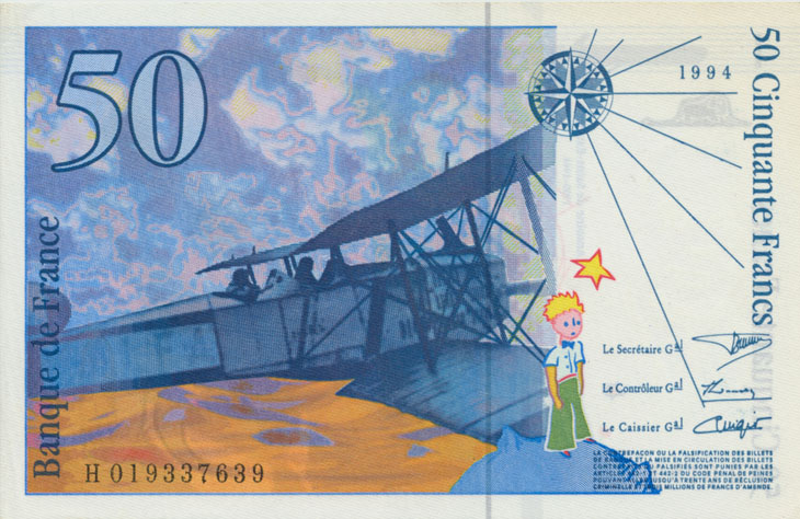 Billet de 50 francs Saint Exupéry