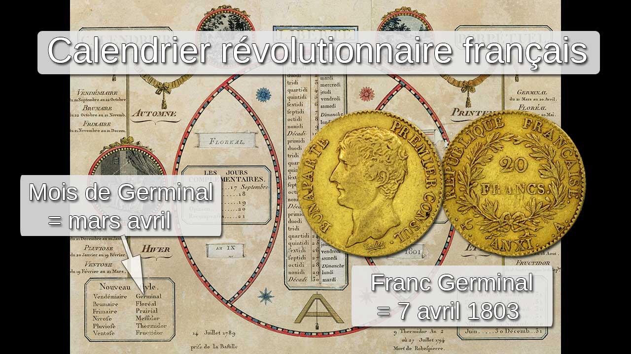 Le Franc Germinal et le calendrier révolutionnaire