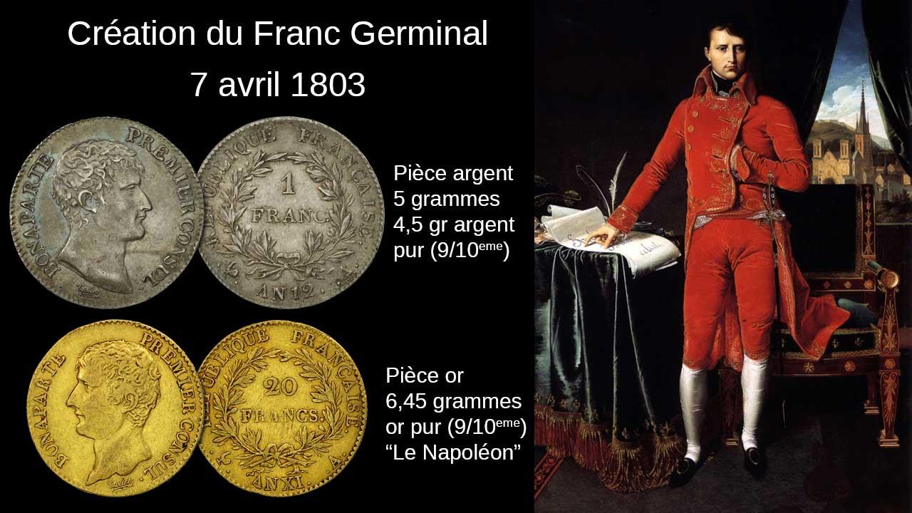 Le franc Germinal a été créé par Napoléon le 7 avril 1803