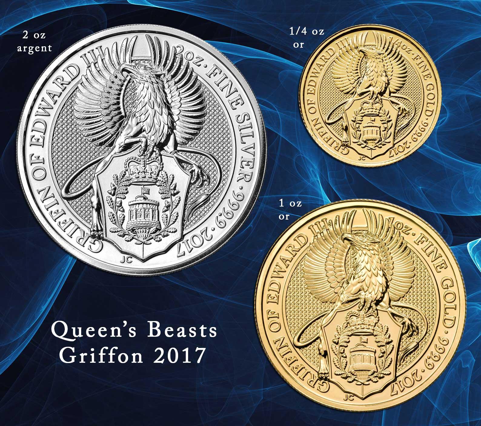 Photo des nouvelles pièces d'or et d'argent Queen's Beast Griffon 2017