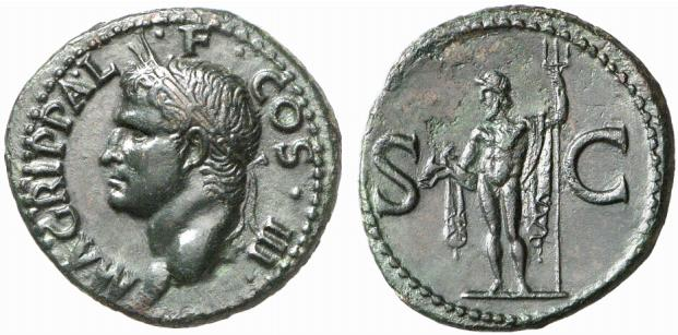 As sur lequel Agrippa arbore une couronne rostrale