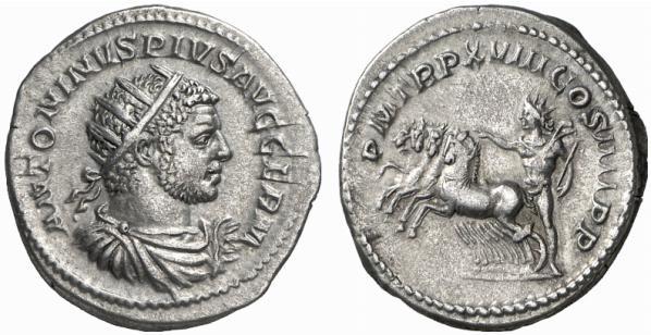 Antoninien de Caracalla sur lequel l'empereur porte une couronne radiée