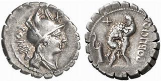 Exemple de denier serratus de la République romaine (80 avant J.-C.)
