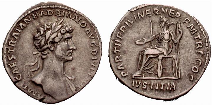 Denier d'Hadrien. L'empereur arbore la couronne de lauriers du triomphateur