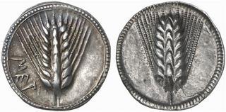 Exemple de monnaie incuse : statère émis à Métaponte en 540-510 av. JC