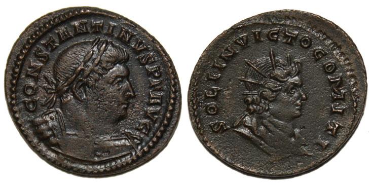 Monnaie de Constantin Premier avers portrait de Constantin Revers Portrait de Sol Invictus