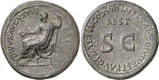 Restitution sous Titus d'un sesterce d'Auguste