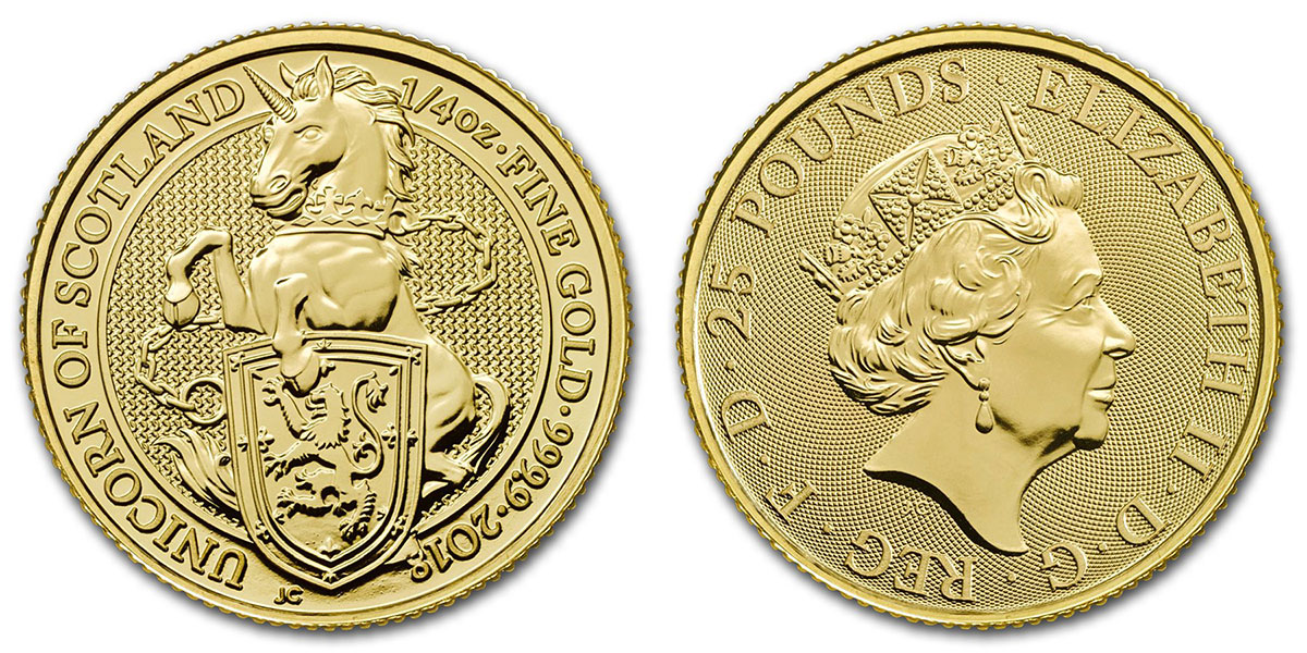 Pièce d'argent 1/4 d'once Licorne 2018 25 livres sterling