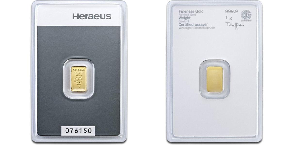 Exemple de lingots d'or scellé Heraeus de 1 gramme recto / verso