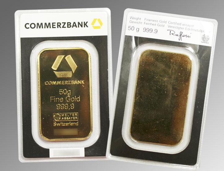 Exemple de lingot d'or d'une once scellé de marque Commezbank