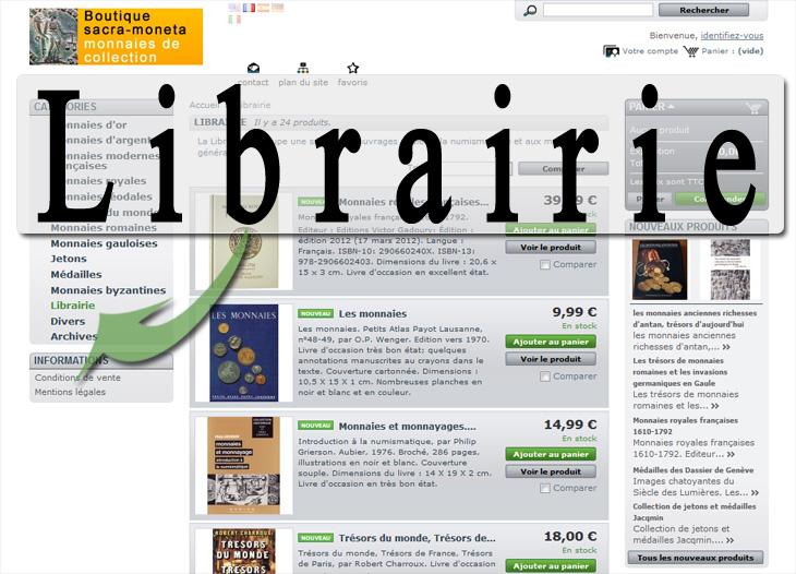 Nouvelle section librairie dans la boutique sacra-moneta