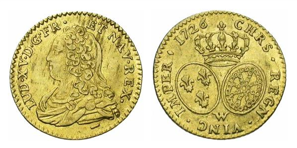 Demi Louis d'or de Louis XV 1726