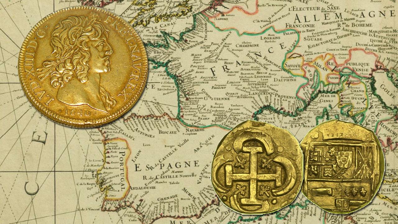 Pièce de 10 Louis d'or et pièce de 8 escudos d'Espagne