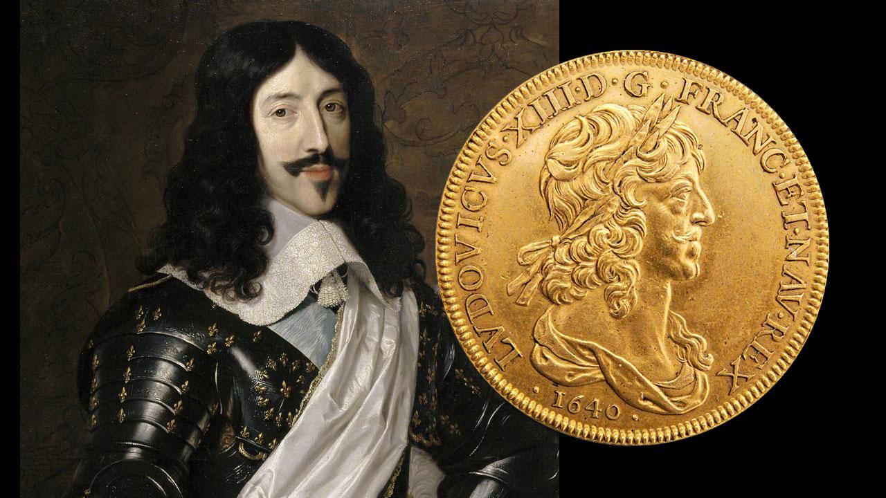 Photo de la pièce de 10 Louis d'or avec le portrait du roi Louis XIII en arrière-plan
