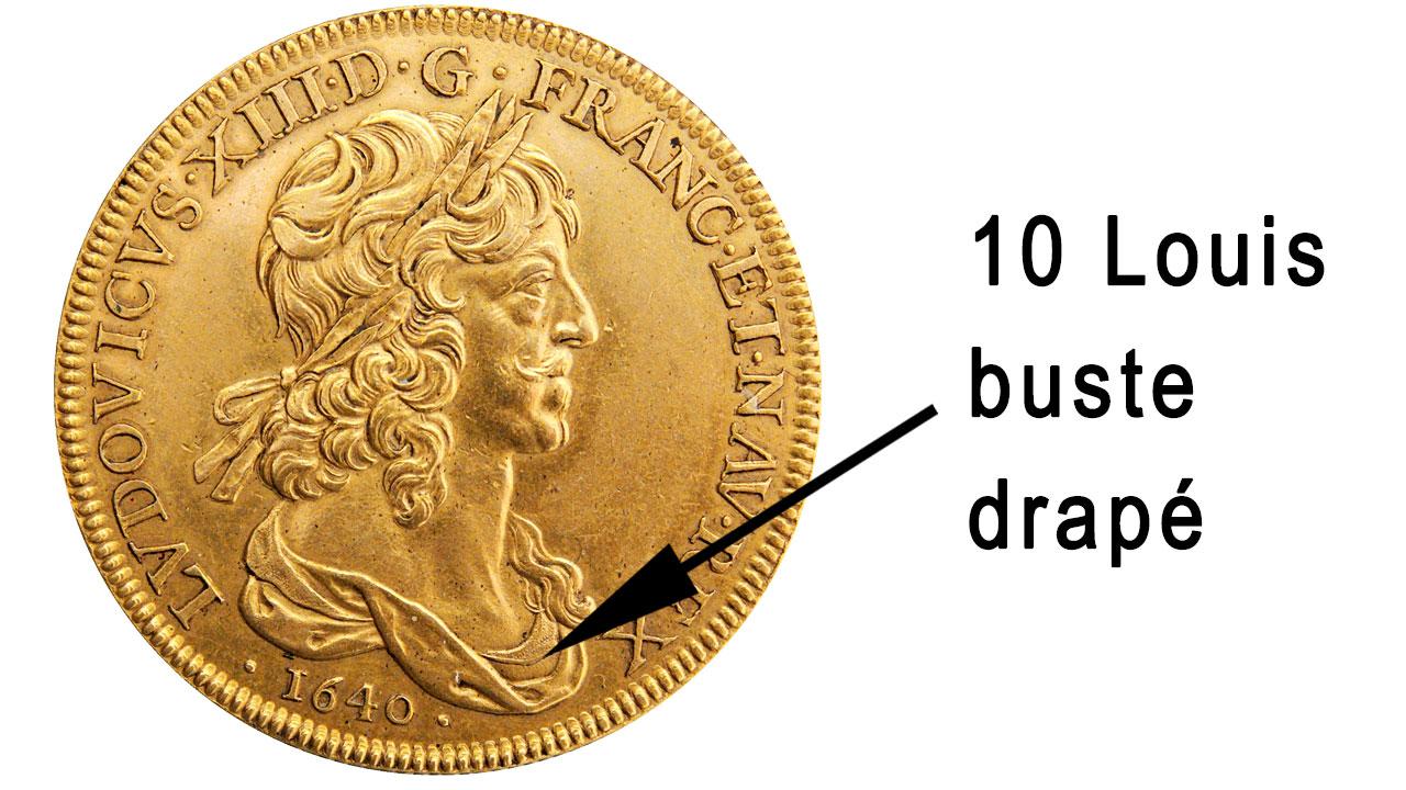Pièce d'or de 10 Louis au buste drapé
