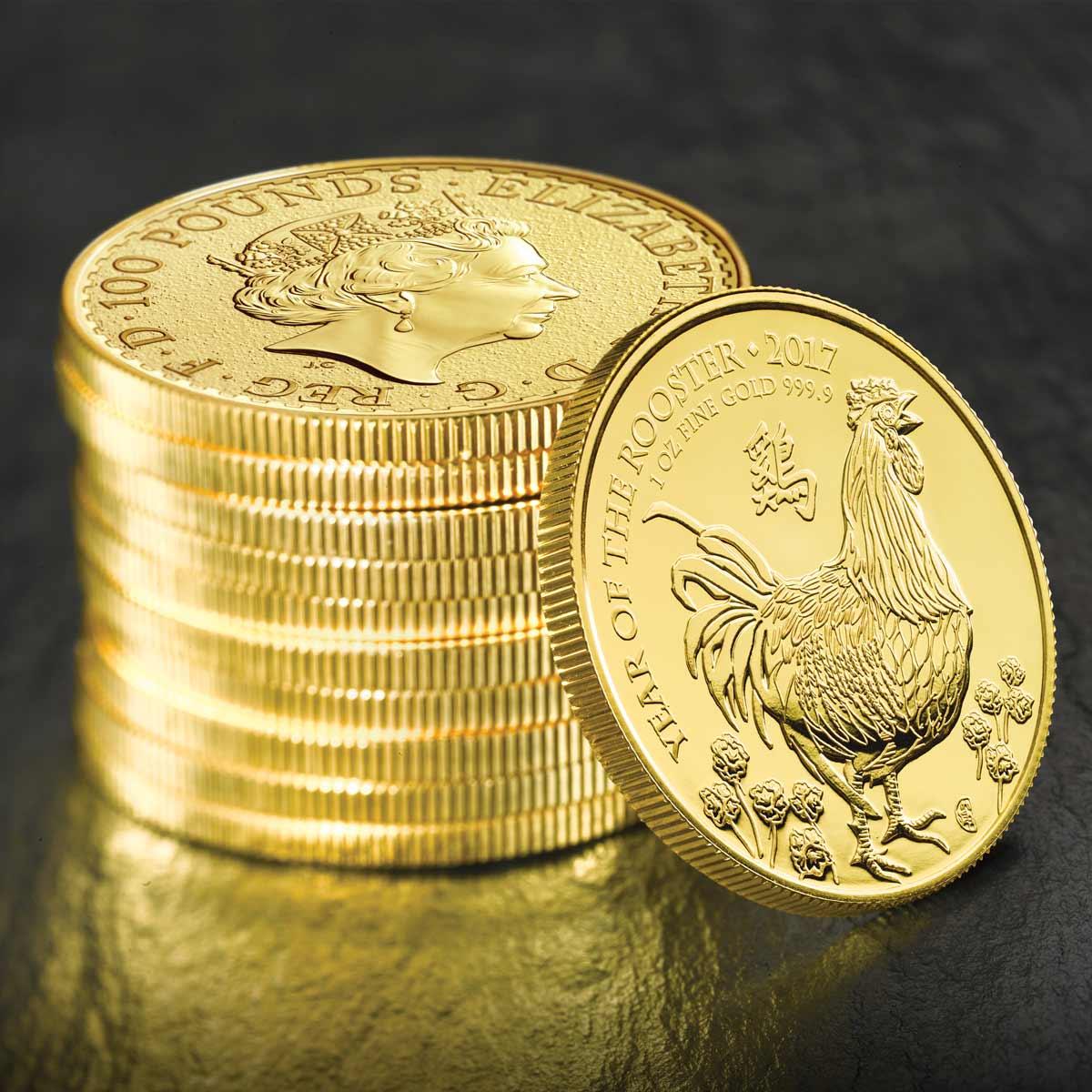 Pile de pièces d'or Coq Grande Bretagne 2017