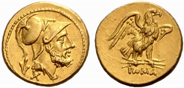 Mars sur une monnaie de la République Romaine