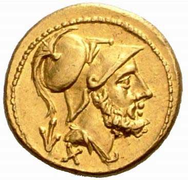 Portrait du dieu Mars sur une monnaie de la République romaine