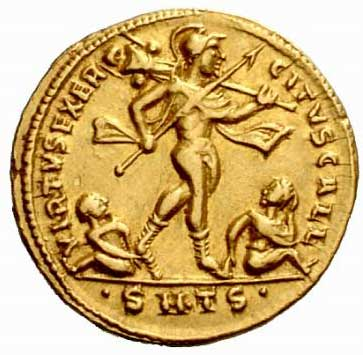 Mars sur une monnaie de Constantin II