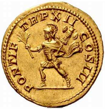 Mars sur une monnaie de Caracalla Auguste
