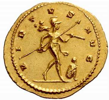 Mars sur une monnaie d'Aurelien