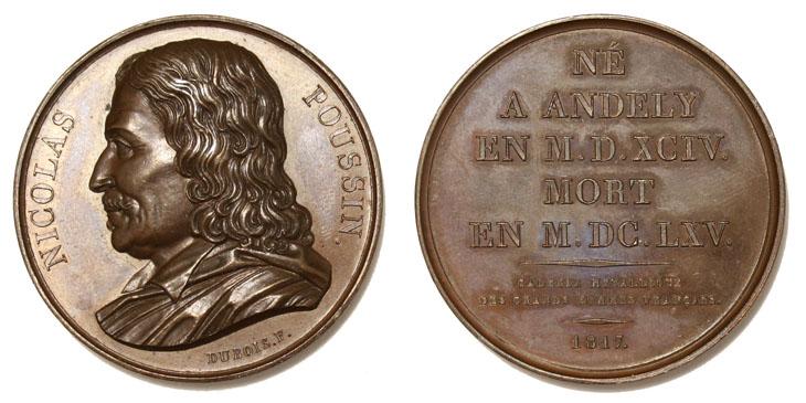 Médaille représentant Poussin dans la Galerie métallique des grands hommes français