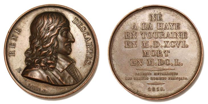 Médaille de Descartes dans la galerie métallique des grands hommes