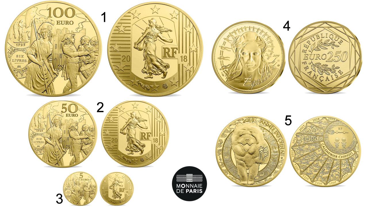 Photo de 5 nouvelles pièces d'or de la Monnaie de Paris