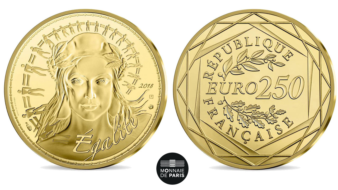 Photo de la pièce d'or 250 euro Marianne 2018
