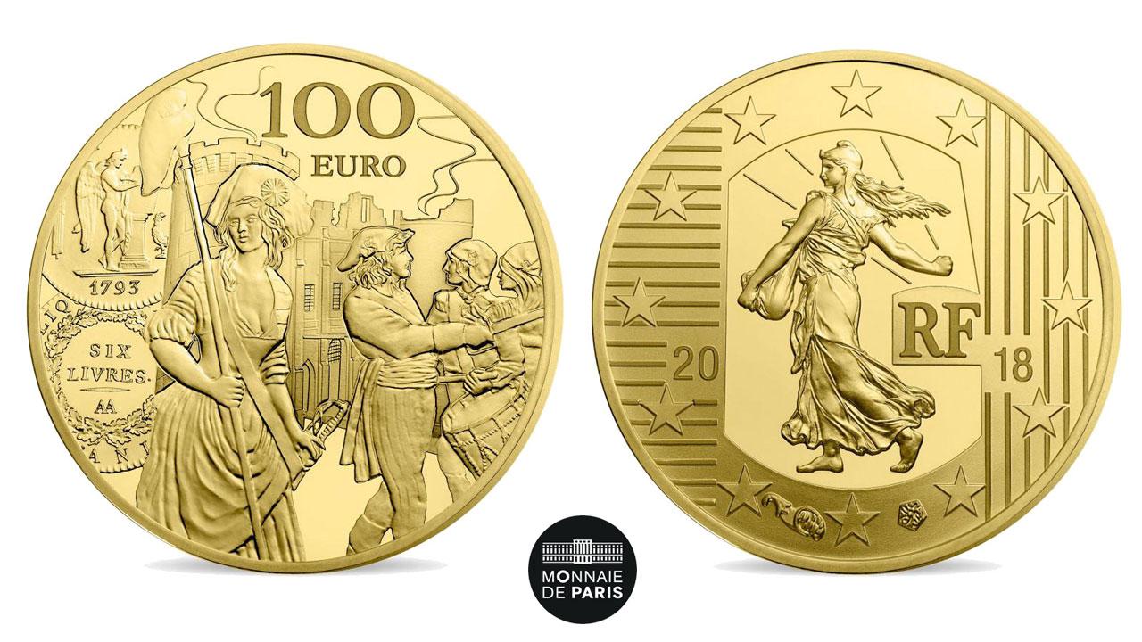 Photo des pièces d'or de la Série Semeuse 2018 qui évoquent l'écu de 6 livres de 1793