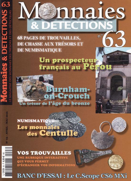 Courverture de Monnaies et détection 63 (avril-mai 2012)