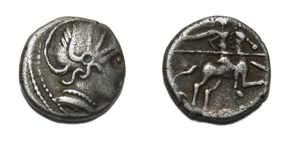 Monnaie gauloise Denier au cavalier de la Vallée du Rhône
