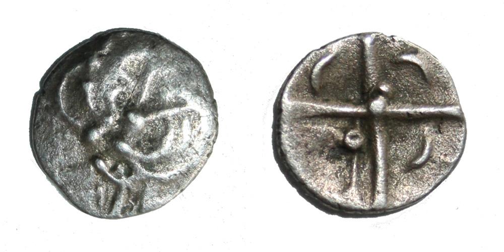 Monnaie gauloise Cadurques obole à la tête triangulaire Rare !