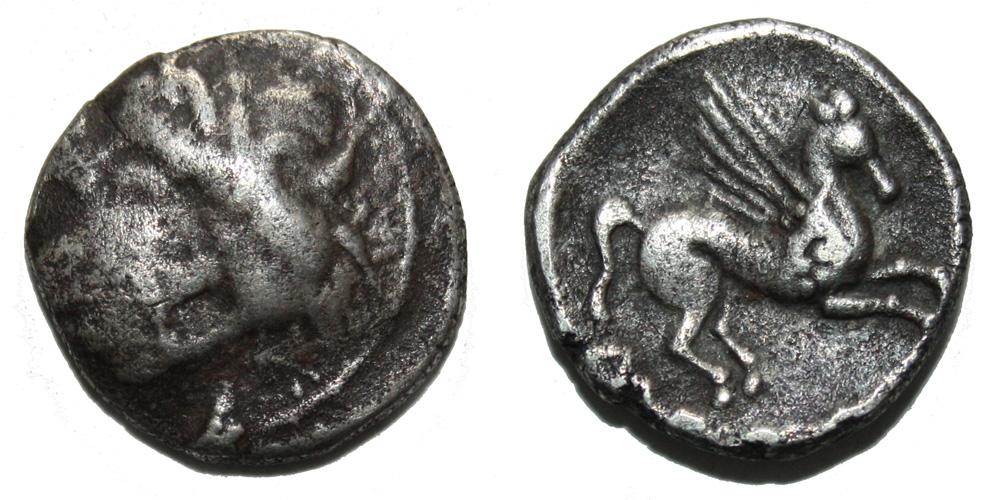 Monnaie gauloise Drachme au Pégase EMPORION imitation du Sud-Ouest de la Gaule