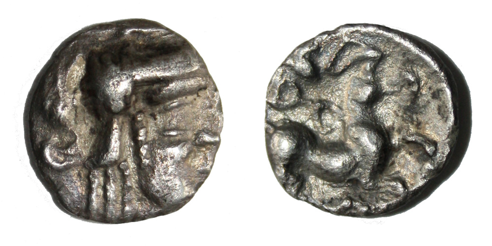 Monnaie gauloise Aulerques Cénomans denier à la tête casquée à droite