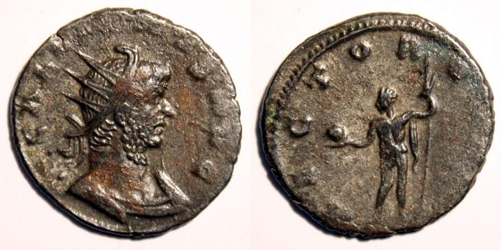 Antoninien de Gallien dont le revers représente Sol en tant que Maître du monde (Rector Orbis)