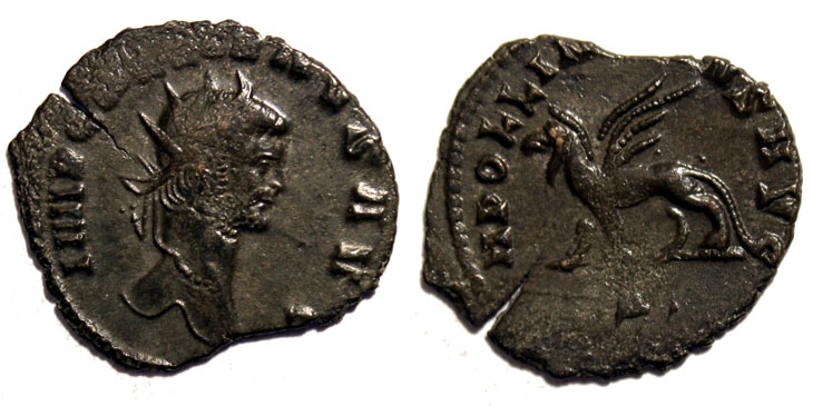2. Antoninien du bestiaire de Gallien (20 millimètres, 2,14 grammes). Revers : Griffon