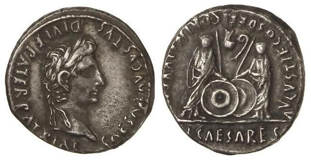Caius et Lucius Princes de la Jeunesse sur un denier d'Auguste