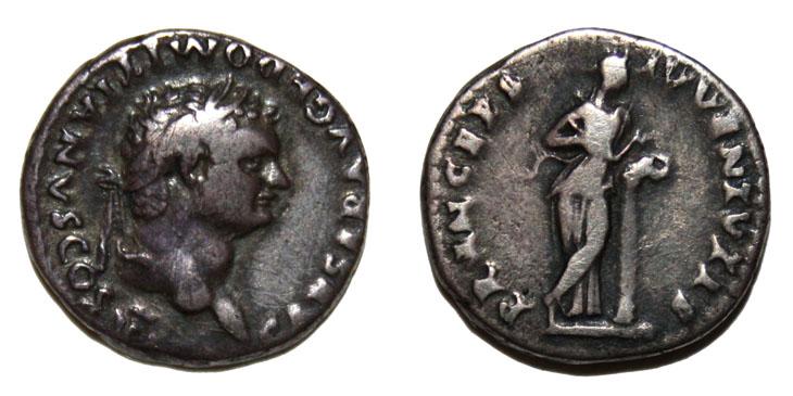 Monnaie de Domitien au revers Prince de la Jeunesse