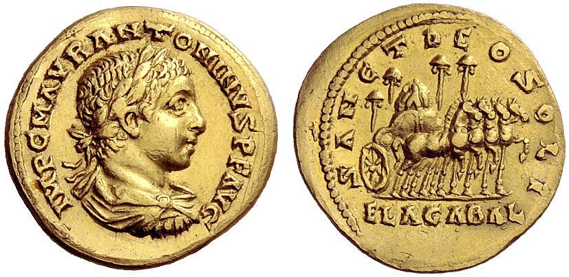 Aureus d'Elagabal montrant le char transportant la pierre noire d'Emèse