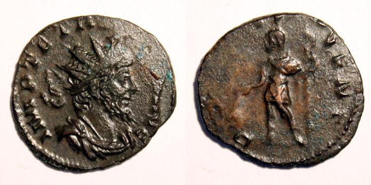Monnaie de Tétricus dont le revers montre Tétricus II en Prince de la Jeunesse