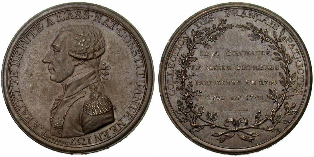 3. Monneron à l'effigie de Lafayette (photo Jean Elsen & ses Fils S.A. > Vente aux enchères 91. Prix réalisé : 130 euro)