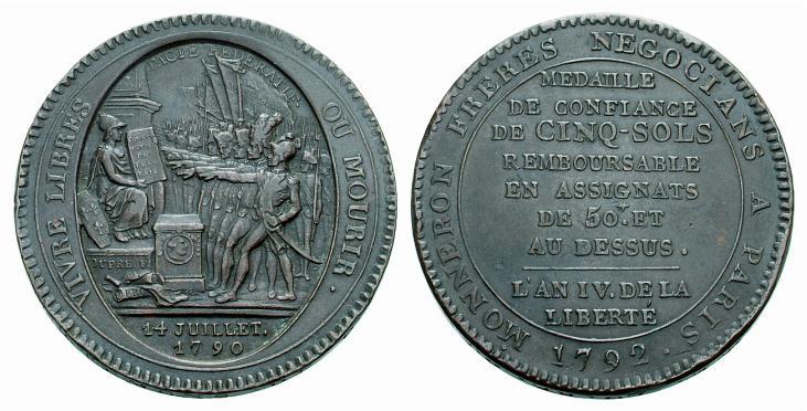 Monneron au type du pacte fédératif (photo UBS Gold & Numismatics  > Vente aux enchères 67, prix réalisé 130 dollars US)